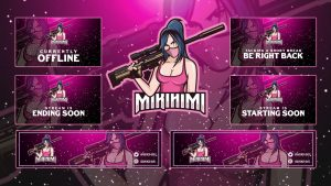 Lady In Pink Twitch Overlays Package